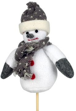 Bijsteker sneeuwpop pluche 15x12cm.+12cm.  Sneeuwman Sneeuwpop
