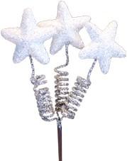 Glittersterren Ster 3x+7, 5m stok wit/glitter ZAK +/- 24 stuk Glittersterren