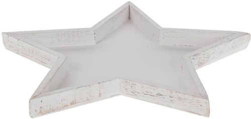 Houten sterschaal White wash 37, 5cm.*4, 5cm. Houten sterschaal