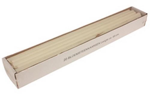 Doos 20 bloemsteekkaarsen 49 cm. XXL Adventkaarsen Ivoor Dunne lange kaarsen 15mm