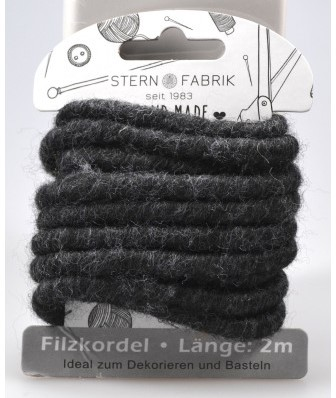 Wolkoord wolslinger Viltkoord DONKERGRIJS 2m kleinverp/card Wolkoord Viltkoord