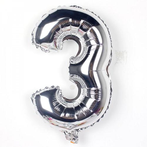 FolieBallon Zilver 34 cm. Cijfer, 3 met stok Ballonnen