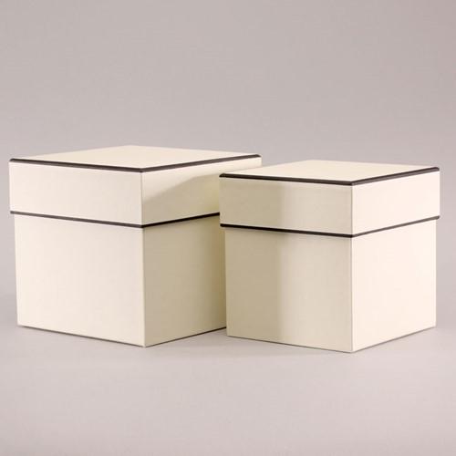 Set van 2-vierkante Bloemendoos-Cream W/Black Trim Bloemendoos