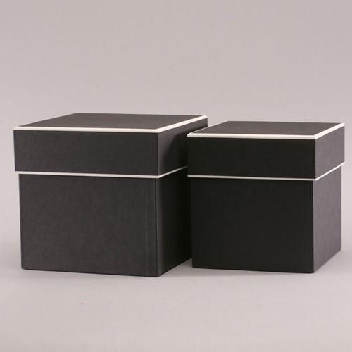 Set van 2-vierkante Bloemendoos -Black W/Cream Trim Bloemendoos