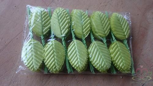 Blad zijde blaadjes op draad BIG- PAK200 LimeGroen 3*5cm. Blad zijde blaad