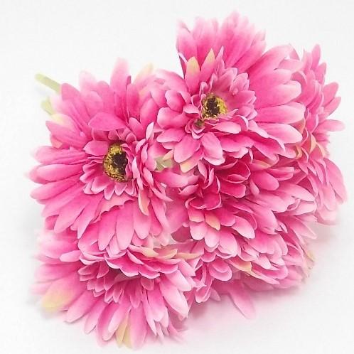 Zijde Gerbera bundel 7st Hot Pink Zijde Mini Gerbera bundel
