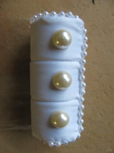 Boeket Snap Wrap Satijn Parels White/ Ivory per stuk Boeketdecoratie