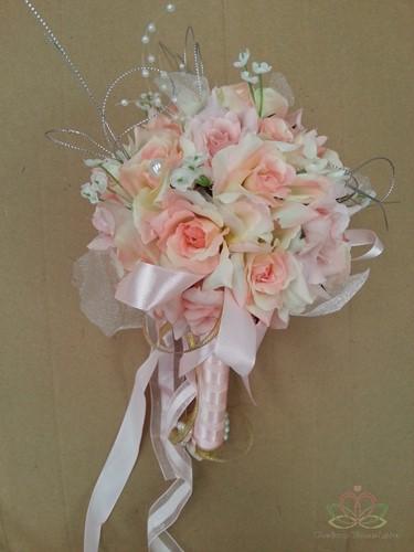 BruidsboeketJE Zijderozen Luxe Champ/Roze Kleiner 21 Bruidsboeket