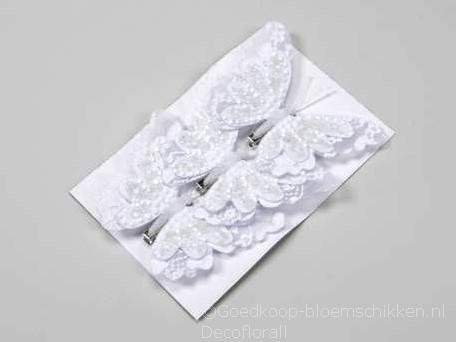 Vlinders Wit 12 cm. Met clip /pak van 3st Vlinder