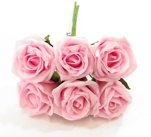 foam roos Princess Kleurvast Babyroze BabyPink6 cm. BUNDEL 6 foamroos