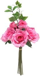 Rozen groot en klein met blad boeketje 42cm. Pink op=op flowerwall vuller