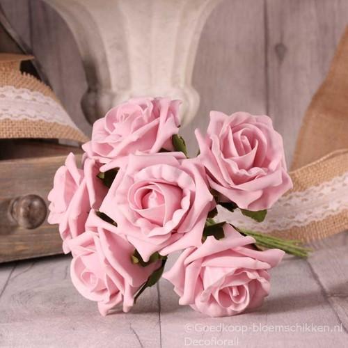 Foam Roos  Tea Rose X6 Baby Pink Foamroos