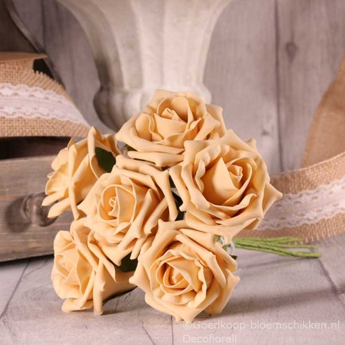 Foam Roos  Tea Rose X6 Cream Gold Foamroos