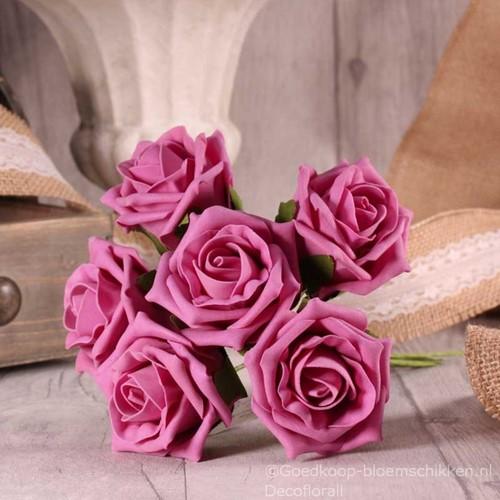 Foam Roos  Tea Rose X6 Cerise Pink Foamroos