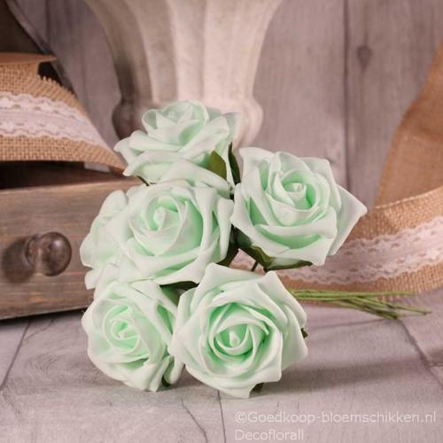 Foam Roos  Tea Rose X6 Mint Green Foamroos
