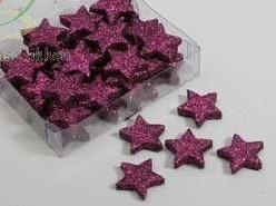 Glittersterren 25 mm doosje Fuchsia(lilac) (DIK) Glittersterren