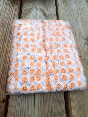 Actie Mini foamrose met tule Wit+Oranje hart BULK pak 144 st 2 cm.