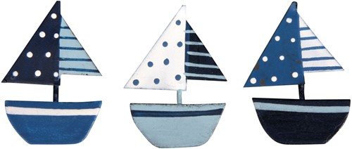 Maritiem metalen zeilbootjes 3, 5cm, 3 soorten Maritiem metalen Zeilboot
