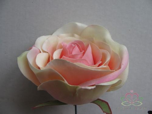 Roos dik PEACH voor Corsage en Boeket op draad ZIJDE Grote roos