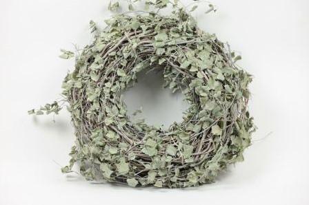 Superdikke Krans met groen van Hop en Berken 50 cm diameter 15 cm dik