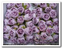 Actie Mini foam roos 2 cm. lila / doosje 144 Mini foam roos