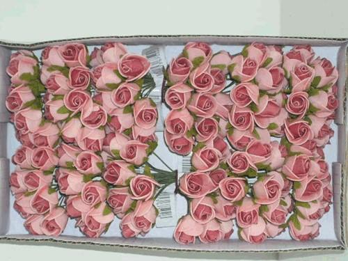 Actie Mini foam roos 2 cm. PINKRoze/ doosje 144 Mini foam roos