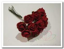 Actie Mini foam roos 2 cm. rood Doos144 Mini foam roos