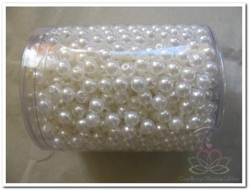 aRijgparels 8 mm 300 gram. +/- 1200 stuks. WIT Rijgparels 8 mm POT