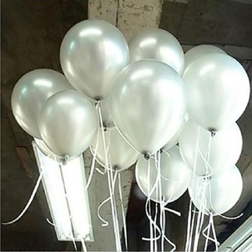 +/- 100 Latex Ballonnen 10 inch dik ook voor Helium IvoorWit Babyshower