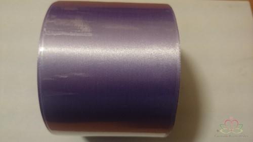 Bedrukt Lila lint 70 mm zilver opdruk +/-80cm. Bedrukt lint 70 mm