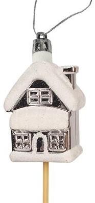 Bijsteker Hanger kerst huisje plastic 6x4cm.+12cm./stuk Huisje