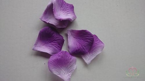 Blad zijde blaadjes Paars-Wit-2kleur rozenblaadjes / pakje Blad zijde blaadjes