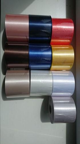 Blauw Lint 45 mm met Metalic Zilver opdruk 50 cm. Bedrukt Lint 45mm