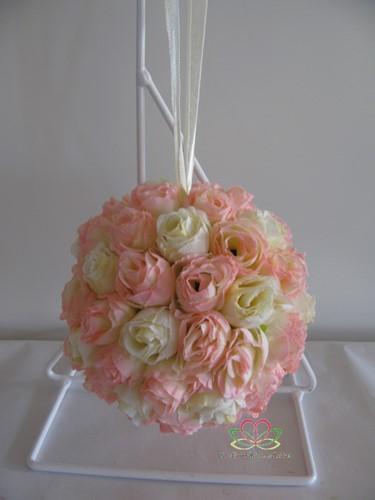 bloemenbal Pomander RoseBall Roze-Ivory nr 32 bloemenbal Pomander