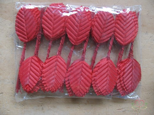 Blad zijde blaadjes op draad BIG- PAK200 ROOD 3*5cm. Blad zijde blaad