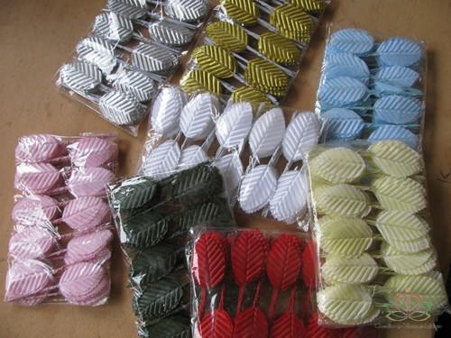 Blad zijde blaadjes op draad BIG- PAK200 Lichtblauw 3*5cm. Blad zijde blaad