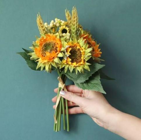 Boeketje zonnebloemen kunstbloemen zijde zonnebloem