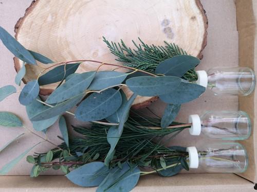 Boomschijf +3 Flesjes met geurende bloemen in een doosje Een groet die iets doet