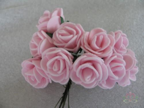 Mini foam roos 2, 5 cm. Zachtroze +/- 144st zak Mini foam roos