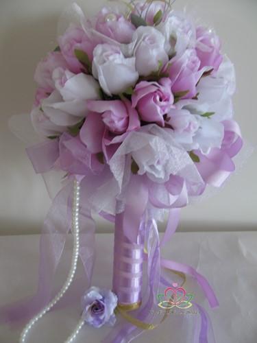 Bruidsboeket Zijderozen Luxe Purple 1026 Bruidsboeket