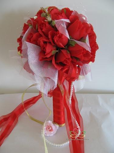 Bruidsboeket Zijderozen Luxe Red 1025 Bruidsboeket