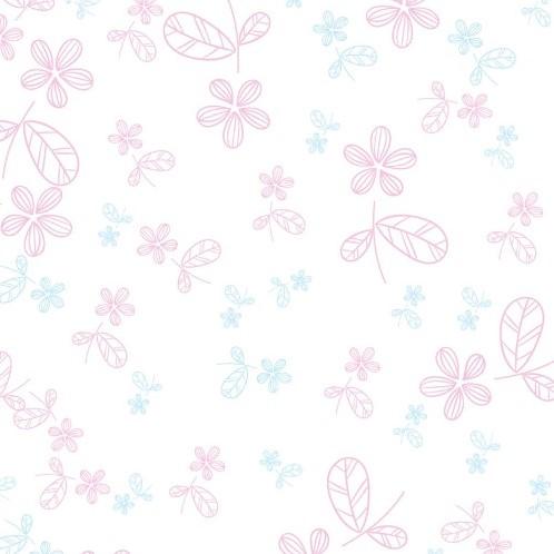 CELLOFAANFOLIE 80cm. X 100met PRETTY FLOWERS PASTEL PINK/BABY BLUE Inpakfolie