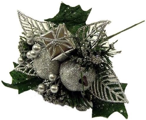 KerstbijstekerZilver Appel, cadeautje en besjes / stuk Kerstbijsteker
