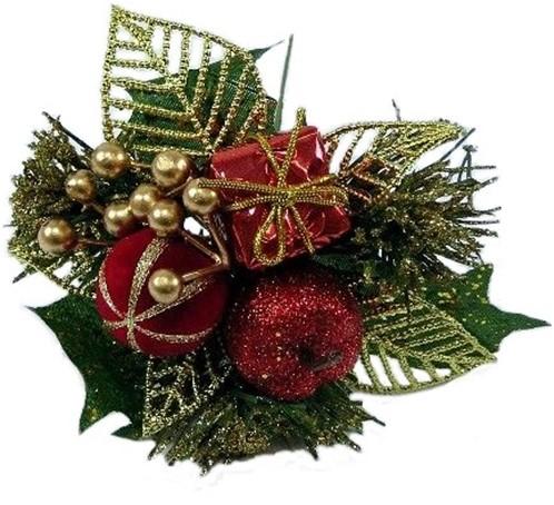 KerstbijstekerRode +goud Appel, cadeautje en besjes / DOOS Kerstbijsteker