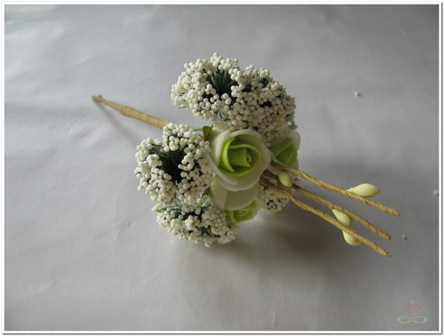 Corsage Mini Roos New Style -Pick Creme-Groen  Corsage Mini Roos