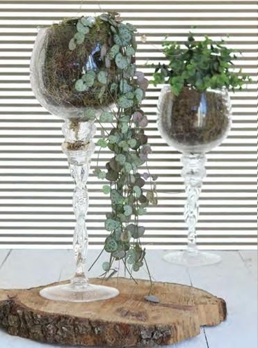 Coupe glas vaas op voet 35 *13 cm. Craquele Glas, vaas op voet 35 *13