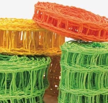 Gaas CrazyRibbon-10cm GEEL rol 10m Papierdraad paperwire