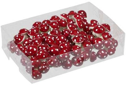 Paddenstoeltjes rood met witte stippen +/- 96 stuks 22mm kleine Paddenstoeltjes rood