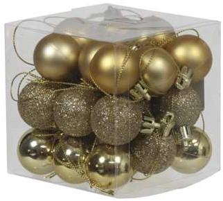 Kerstballen 3cm. 27 stuks Goud combi kunststof onbreekbaar