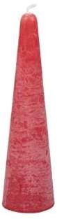 Actie Kaars kegelvorm 41x150mm Frosted Red Rode Kaars kerstboomvorm 14h
